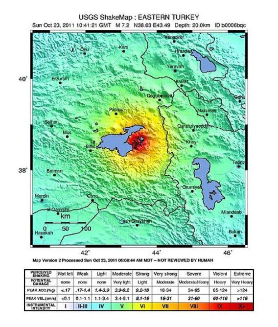 Intensywność trzęsienia ziemi/ mapa USGS