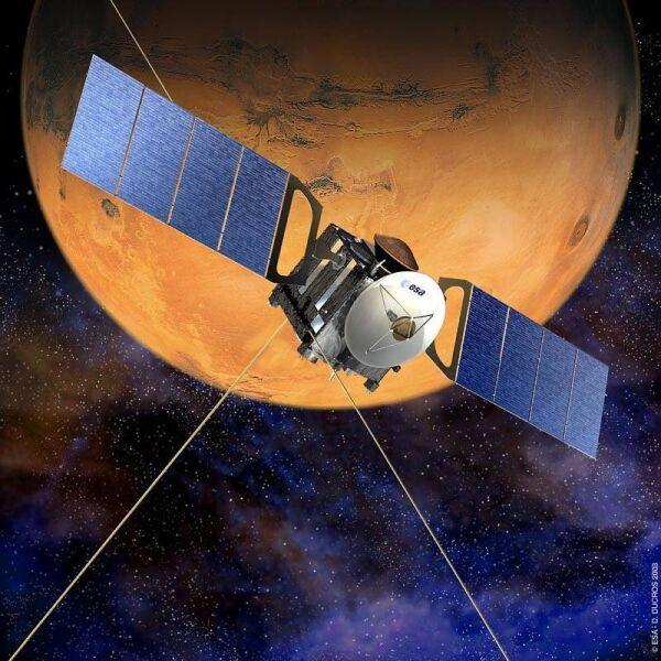 Wizualizacja orbitera Mars Express krążącego wokół Marsa (NASA/ESA/D. Ducros)