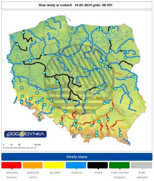 Stan rzek w Polsce z 24 maja (IMGW)
